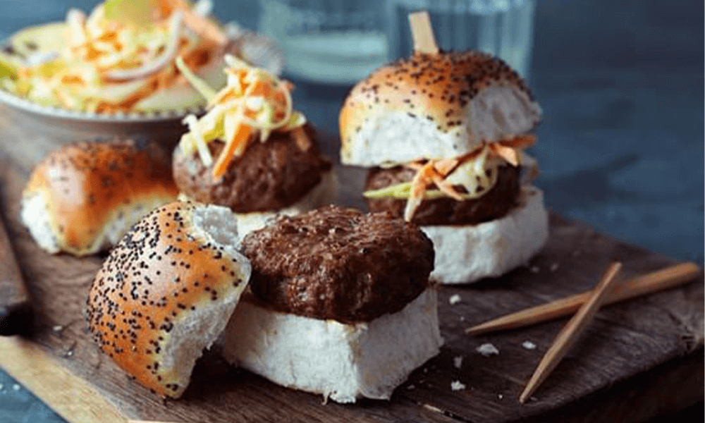 Piquant Mini Burgers with Apple and Chilli 'Slaw