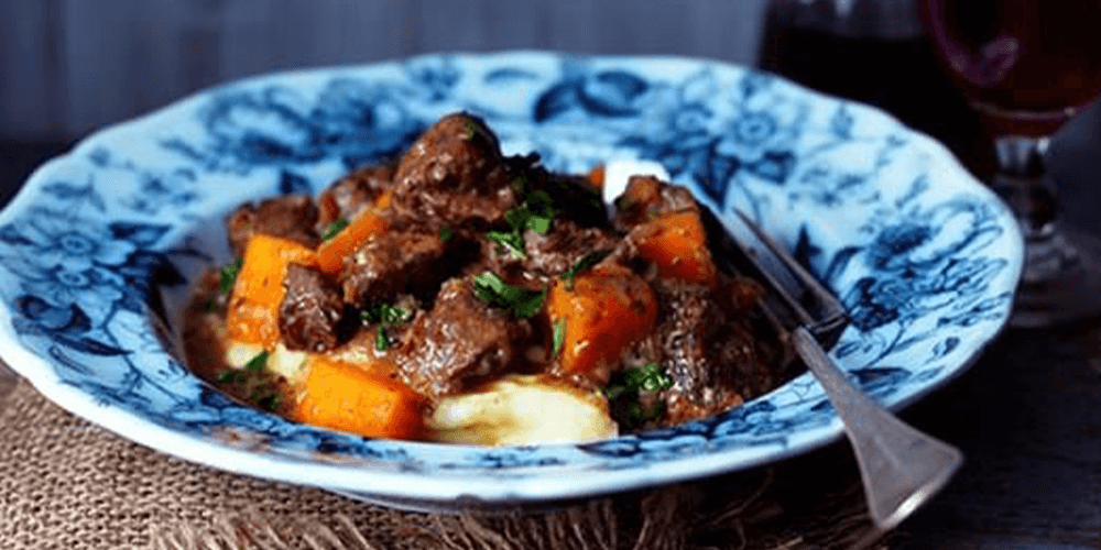 Beef Stew with Pumpkin and Greens