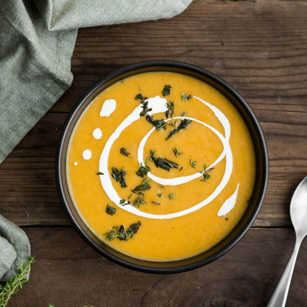 Roasted Butternut Squash and Celeriac Soup with Fresh Coriander and Coconut Image 1
