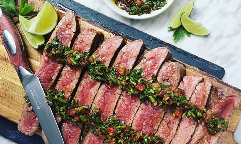 Seared Skirt Steak with Chimichurri Sauce
