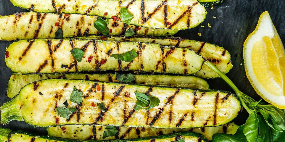Barbecued courgettes with lemon & mint