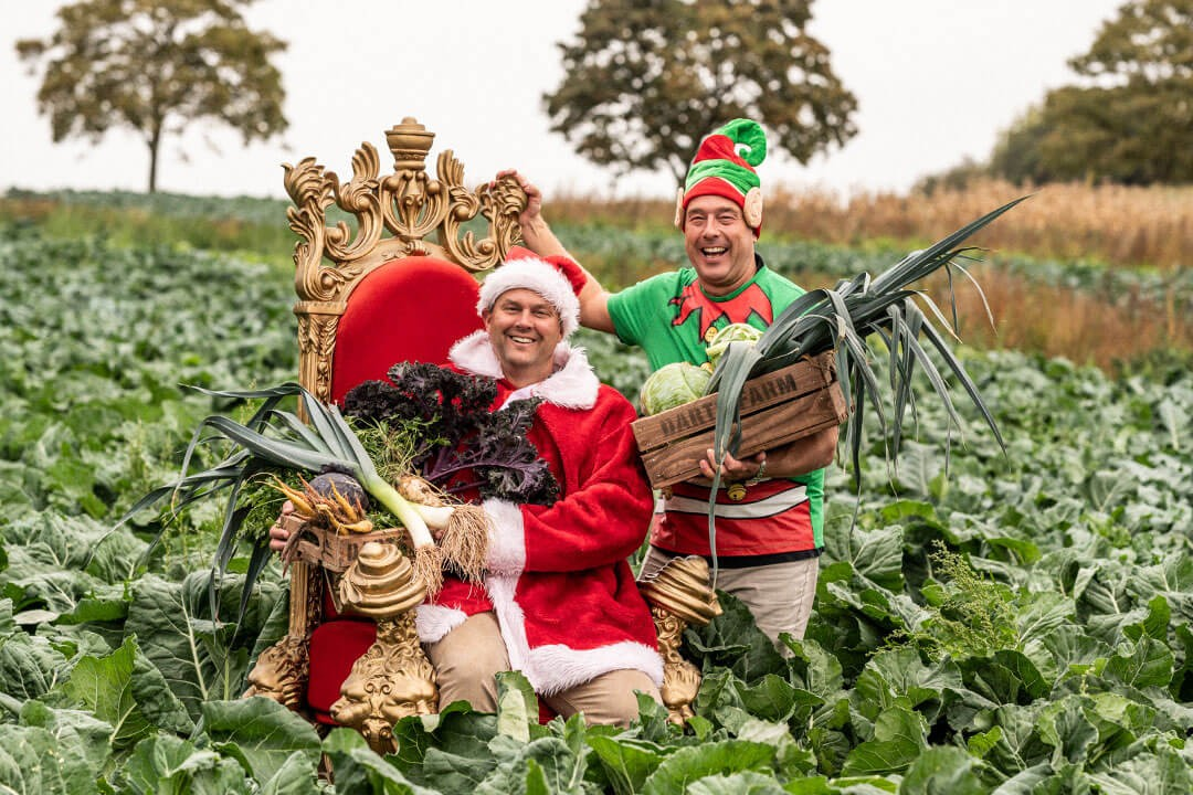 James & Michael in the veg field - Christmas